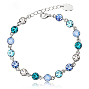 B2092   Love Heart Ocean Blue Crystal Bracelet Adjustable Hand Chain Jewelry Gift for Girls Women
