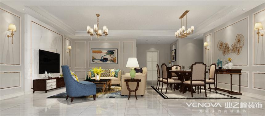 成都业之峰复地金融岛150平方客厅装修设计案例