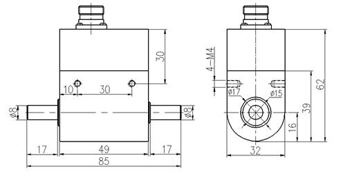 PTQ-500E微型动态扭矩传感器尺寸图