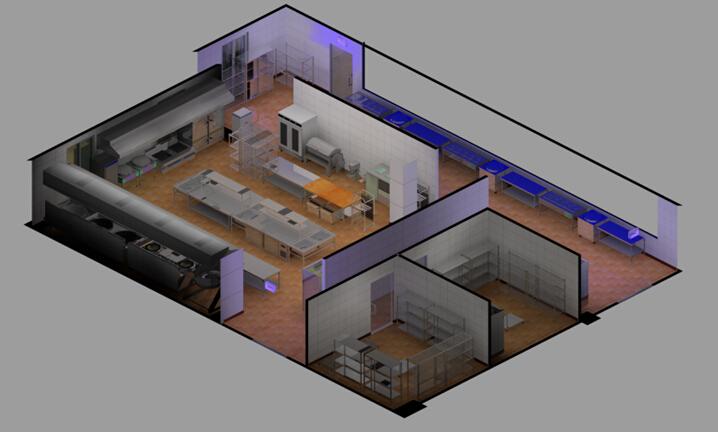 厨房设备整体效果图