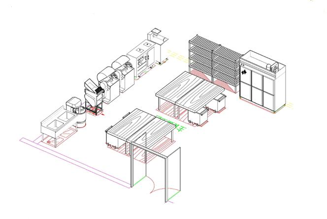 商用厨房设备系统解决方案,厨房设备工程面点间3D效果图