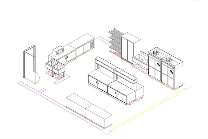 商用厨房设备系统解决方案,厨房设备工程凉菜间基本设备3D效果图