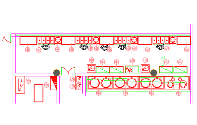 商用厨房设备系统解决方案,厨房设备工程饭菜售卖区图