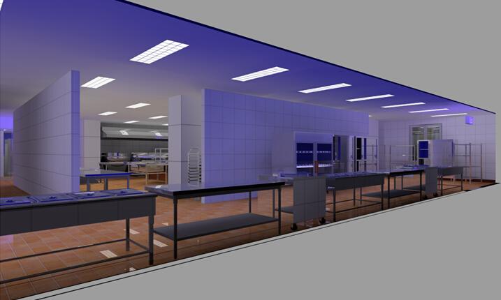 商用厨房设备系统解决方案,厨房设备工程饭菜售卖区3D效果图