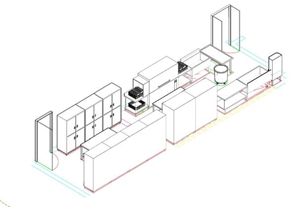 商用厨房设备系统解决方案,厨房设备工程洗消间3D效果图