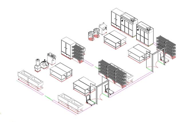 商用厨房设备系统解决方案,厨房设备工程,蔬菜肉类加工区3D效果图
