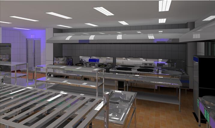 商用厨房设备系统解决方案,厨房设备工程,操作间整体3D效果图