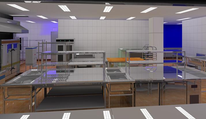 商用厨房设备系统解决方案,厨房设备工程,操作间厨房设备3D效果图