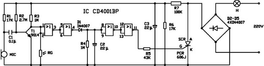 控制开关电路由r3,光电阻rg,集成电路ic,单向可控硅scr等组成,声控