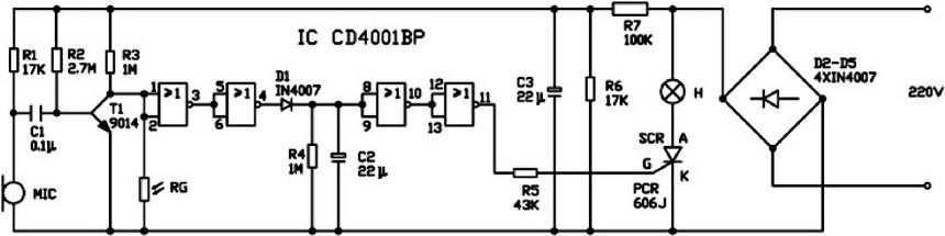 声光控开关电路是将市电全桥整流后,用单向可控硅进行控制,不论白天