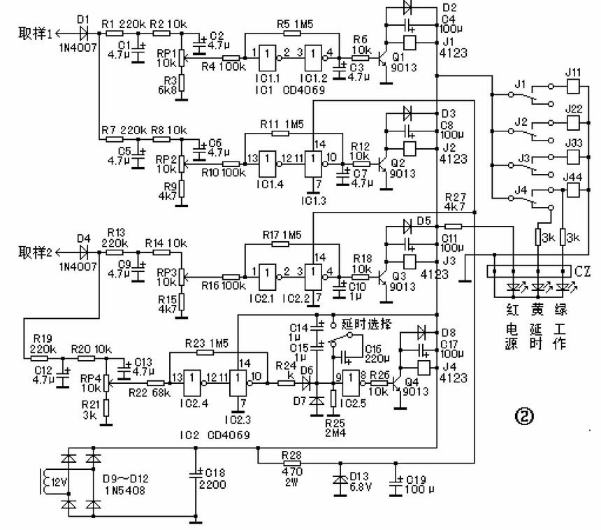 这部分电路在印制电路板上,目测各元件外形、颜色未见异常,测量相关电路电阻、二极管、三极管,对有怀疑的元件进行更换未能排除故障。无奈对照电路板,测绘出了电路原理图如图2所示,继续分析排查故障。J33是由型号为HG4123的小型继电器驱动控制,而J3的动作与否受取样整流电路(D4、C9)、取样电位器RP3、芯片IC2.