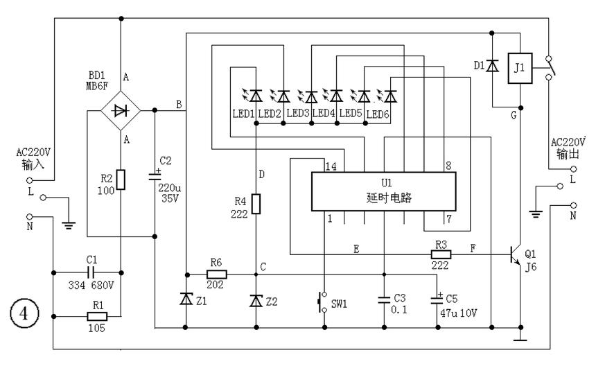 定时器通电后,电路板供电电路产生的5V直流电压,送到定时设置和显示电路U1的4脚和11脚之间,U1启动工作,进入待机状态,14脚呈低电平0V,三极管Q1截止,继电器J1处于释放状态,输出插座无AC220V输出;同时定时显示输出端12脚、13脚、10脚、9脚、8脚、6脚呈高电平,定时指示灯LED1~6反偏截止,指示灯不亮。 当按下定时设置按键SW1时,定时器进入倒计时工作状态,从14脚输出高电平5V,经R3驱动三极管Q1导通,继电器J1吸合,AC220V从输出插座输出。定时器输出AC220V电压的时间受U1