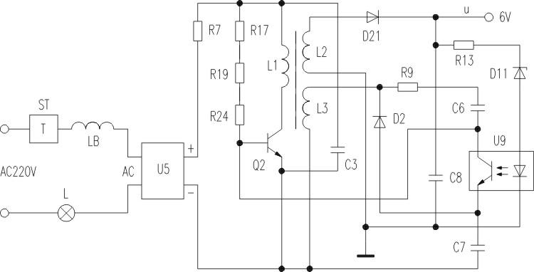 在灯暗的状态下,220V电压通过热保护器ST和线圈L加到高压整流桥U5上,使U5输出脉动直流电,经电阻R7的降压,一路由R17和R19和R24加到Q2的基极,为Q2提供初始的基极电流。另一路经变压器B的L1加到Q2的集电极,使Q2微导通。L3为反馈线圈,L3得到感应电压后,经R9和C6加到Q2的基极形成正反馈,使电路持续振荡。另外,L3的电压经D2整流和C7滤波形成取样电压。L2输出的电压经D21整流和C8滤波形成的直流电压超出6V时,稳压管D11击穿,光耦U9导通,C7上的取样电压通过光耦加到Q2的基