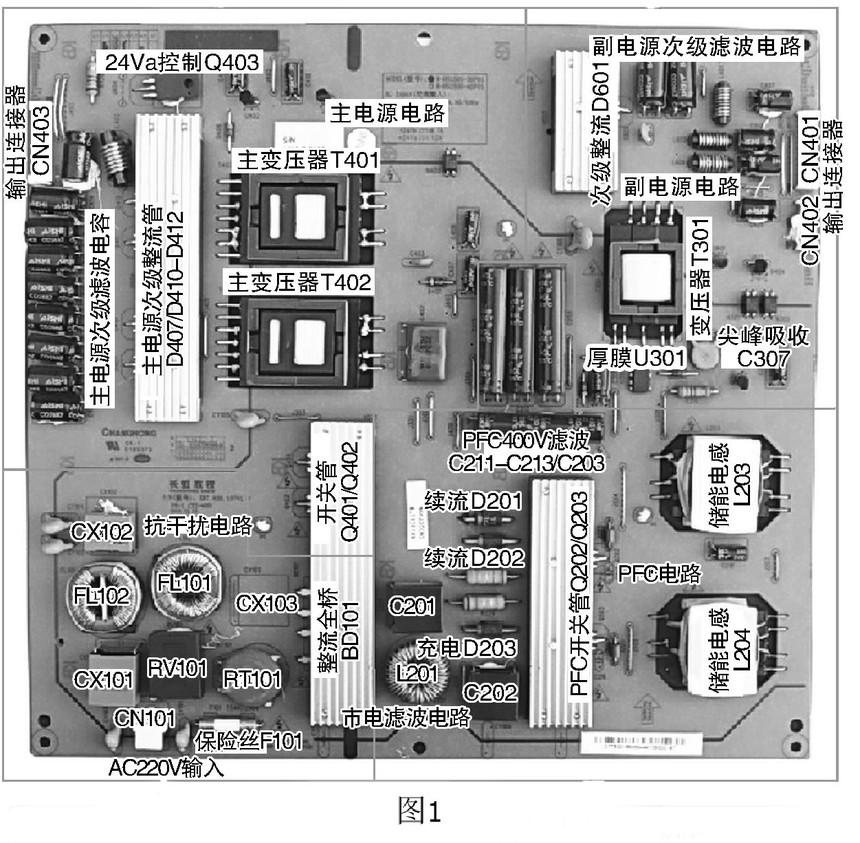长虹led55760d液晶彩电电源板实物和基本电路工作原理见图1所示