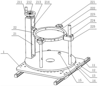 用于坐标测量机的盘类工件检测工位调整工装的结构示意图