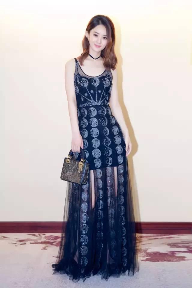 赵丽颖轻盈面料显高显瘦薄纱裙