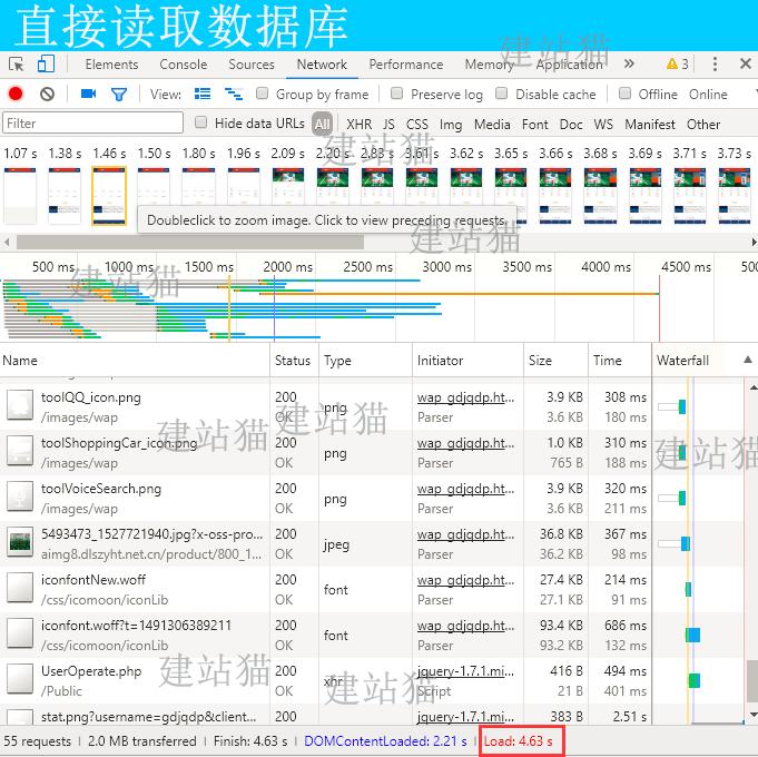 直接读取数据库网站打开速度展示