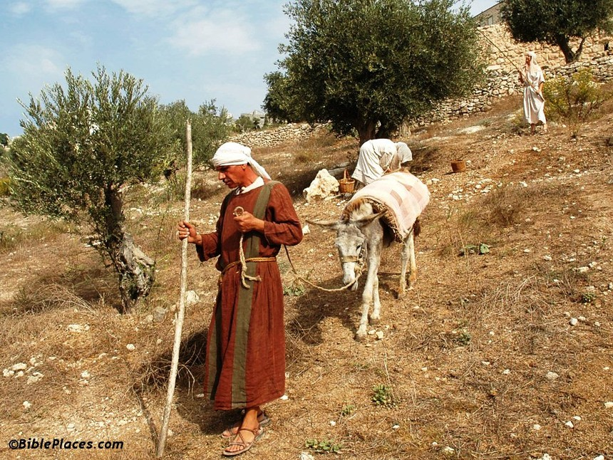 Nazareth_Village_man_with_donkey,_tb102704320 古代拿撒勒村.JPG