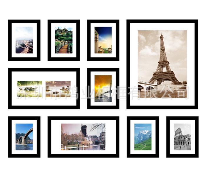 相框厂家,相框批发订制,韩式创意 ps环保塑料黑白搭配 7组合 照片墙