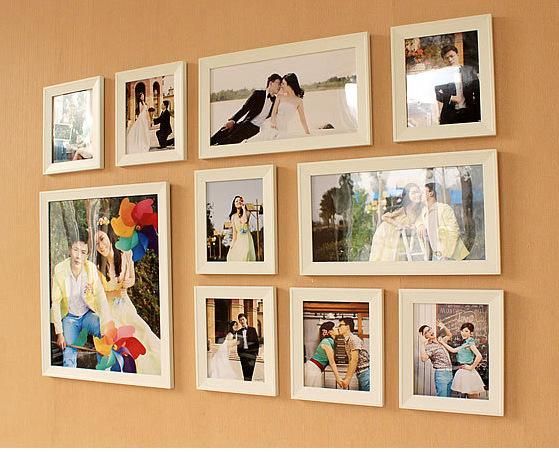 相框厂家韩式居家装饰客厅卧室 加厚加宽10组合白色创意照片墙,相框批发订制