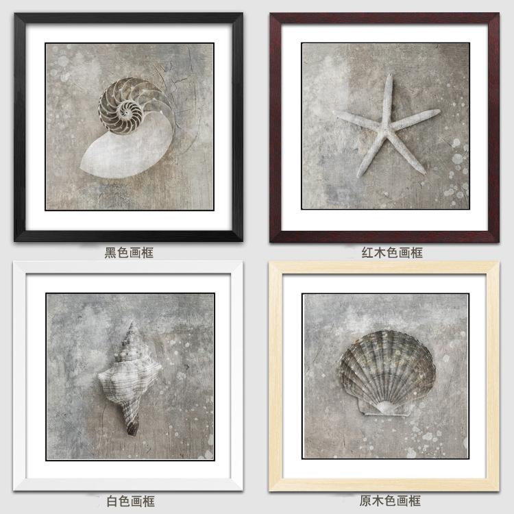 深圳相框厂家 沙滩海星贝壳客厅油画挂墙装饰画餐厅装饰画,相框批发定制