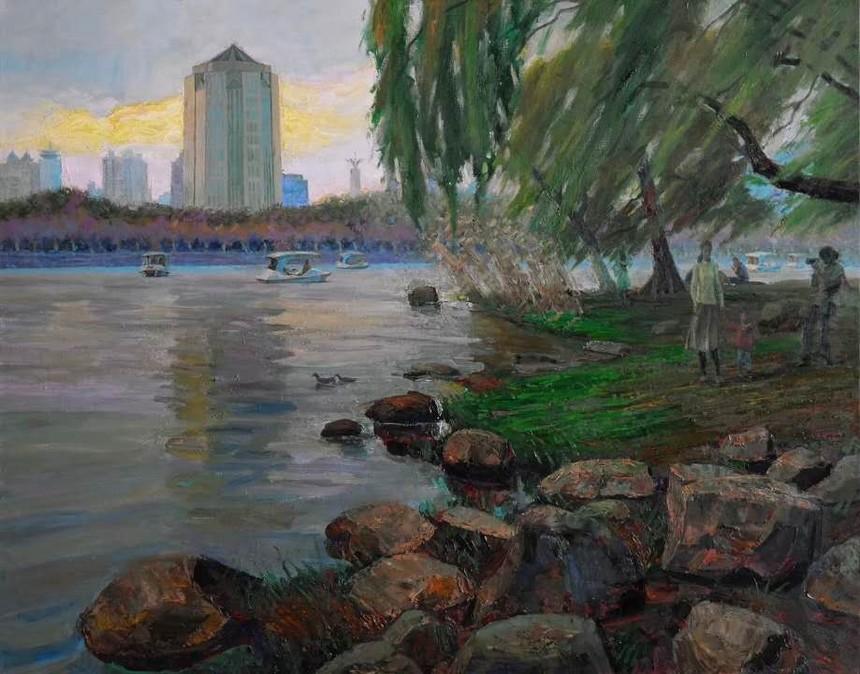 今日浦东--浦东美术作品展作品欣赏《浦东世纪公园卵石滩》作者:龙力游.jpg