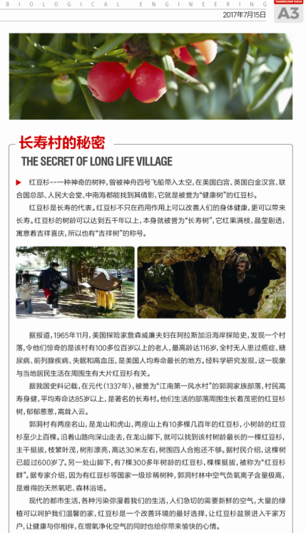 天行健紅豆杉第二期報紙出版|公司月報-陜西省天行健生物工程股份有限公司