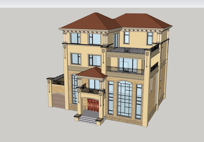 四层豪华新农村别墅自建房别墅图纸免费下载含效果图