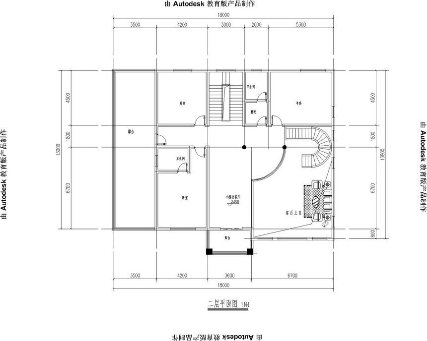 四层豪华新农村别墅自建房别墅图纸二层平面图