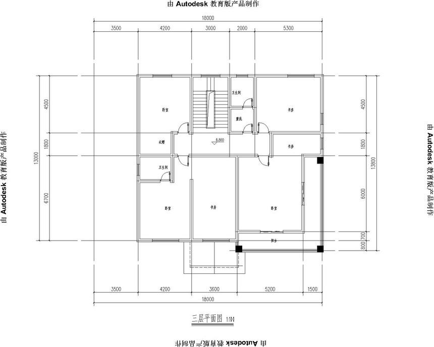 四层豪华新农村别墅自建房别墅图纸三层平面图