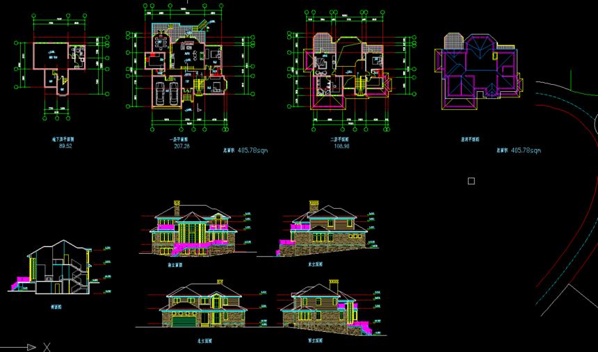 坡地独栋新农村别墅自建房设计图免费下载