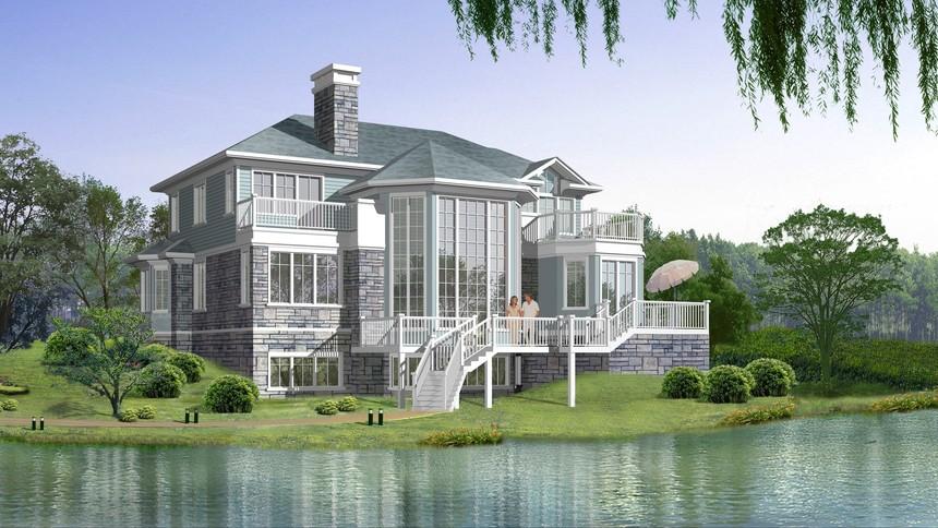 坡地独栋新农村别墅自建房设计图