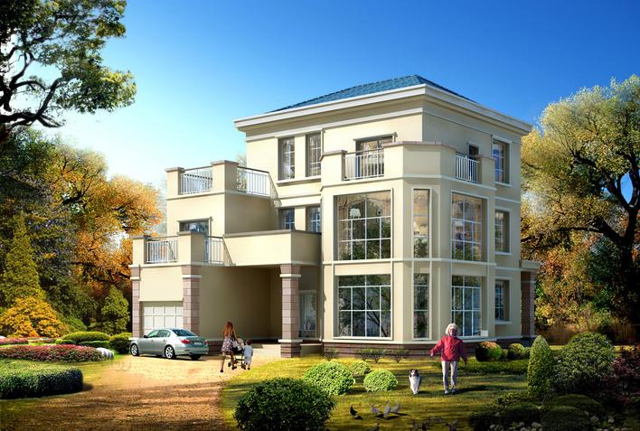 三层砖混结构新农村别墅自建房