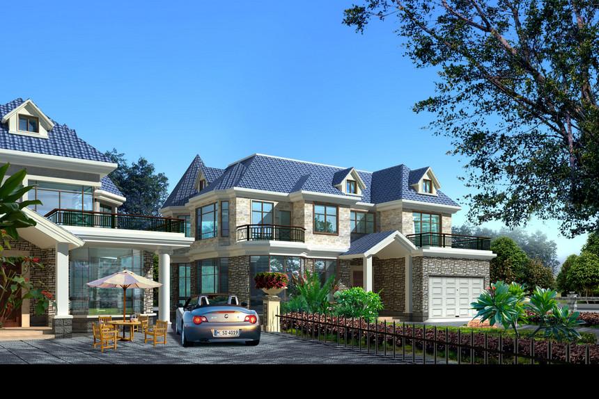 二层新农村别墅自建房建筑结构方案图带效果图