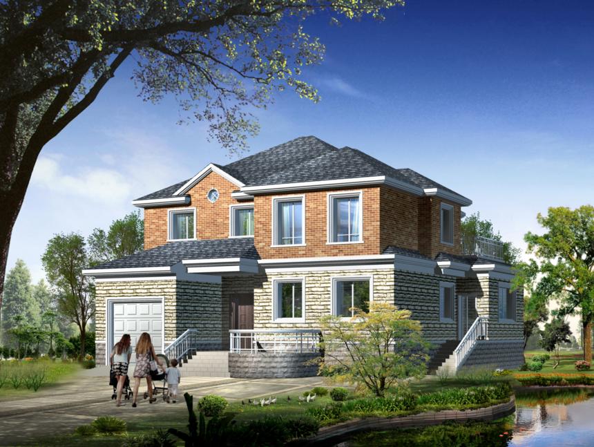 15*15两层实用型新农村别墅自建房带独立车库