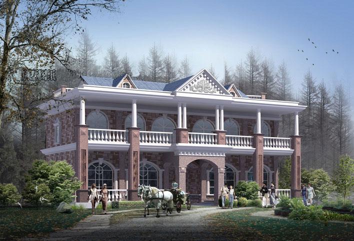 俄罗斯风格连排新农村别墅自建房