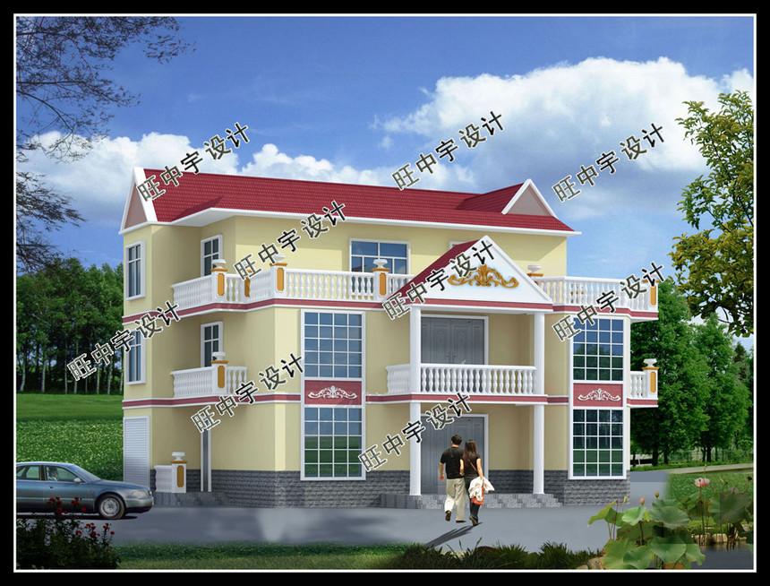 三层16米宽度4开间新农村别墅自建房设计