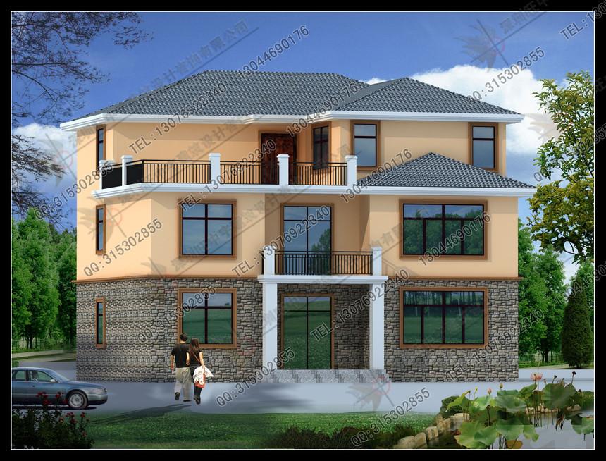 新农村别墅自建房三层盖瓦外观效果图