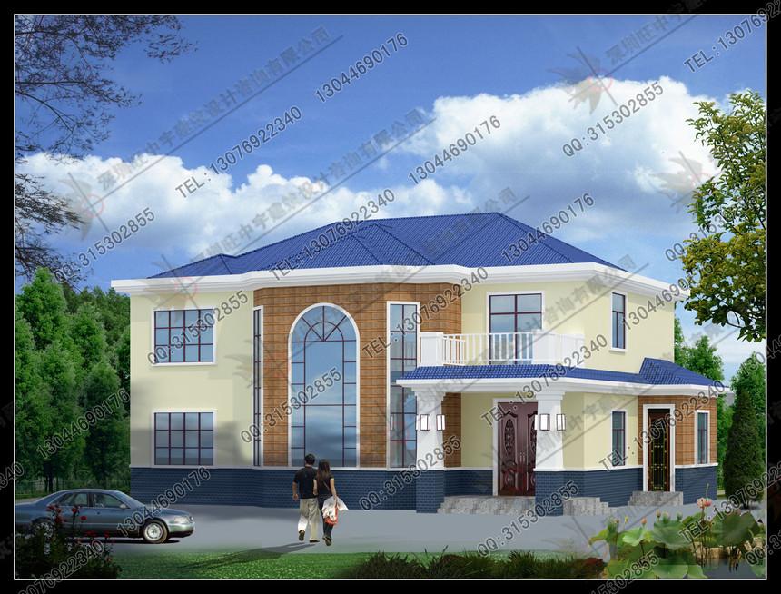 二层盖瓦大气新农村别墅自建房设计图