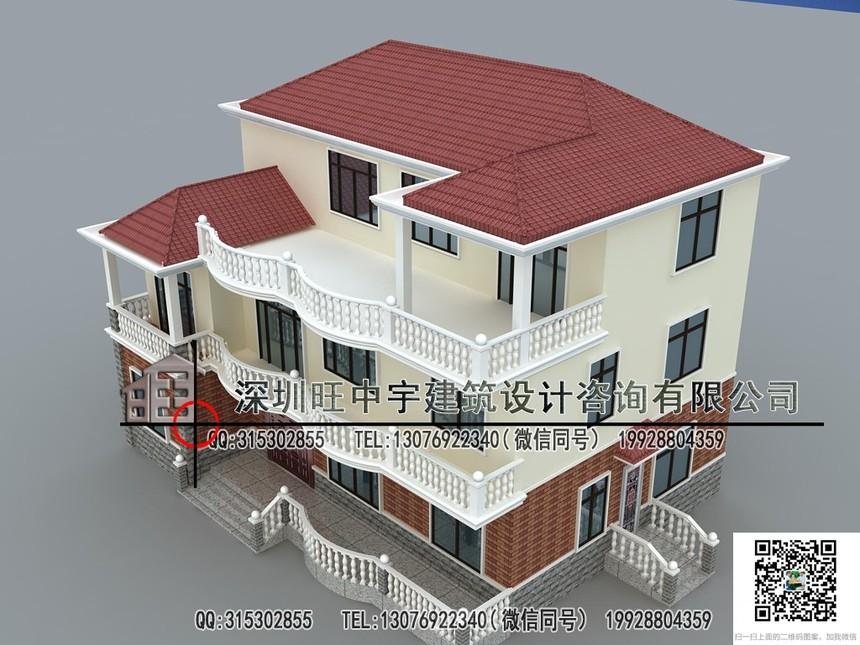 新农村别墅自建房三层大气盖瓦效果图