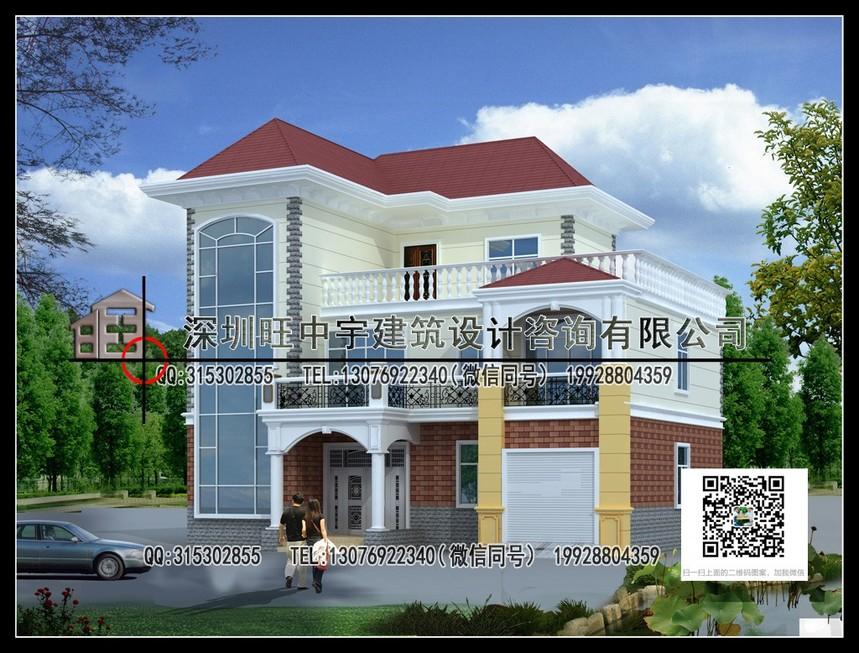 农村别墅自建房三层带车库设计