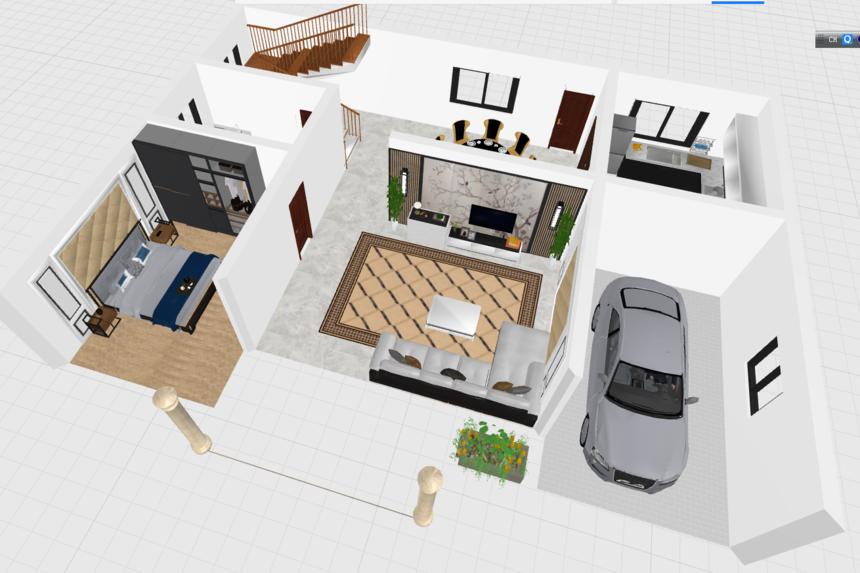 三层新农村别墅自建房_一层平面透视图1