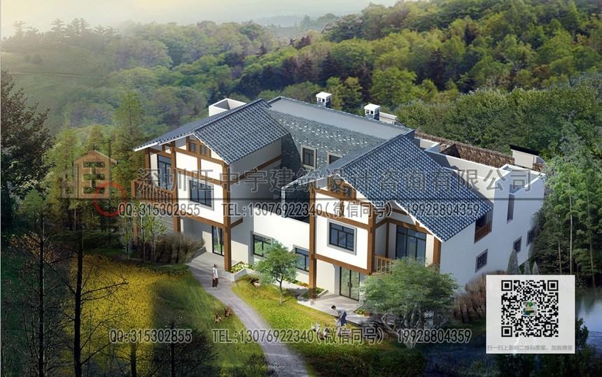 两层双拼农村联体新农村别墅自建房图纸免费下载