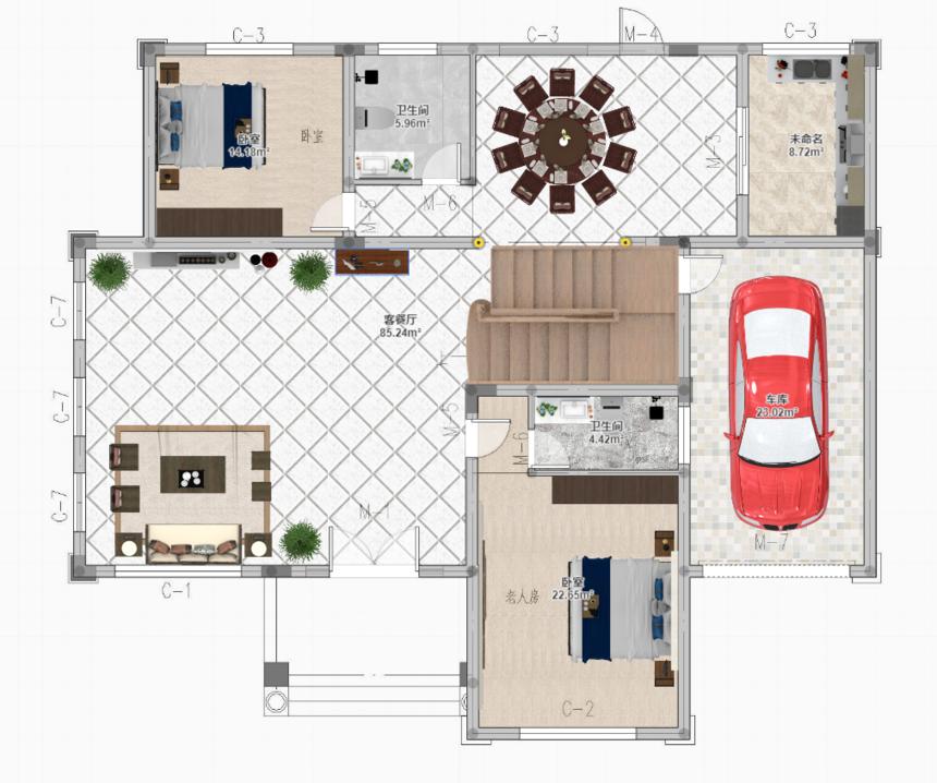 三层带露台框架结构新农村别墅自建房设计一层平面图