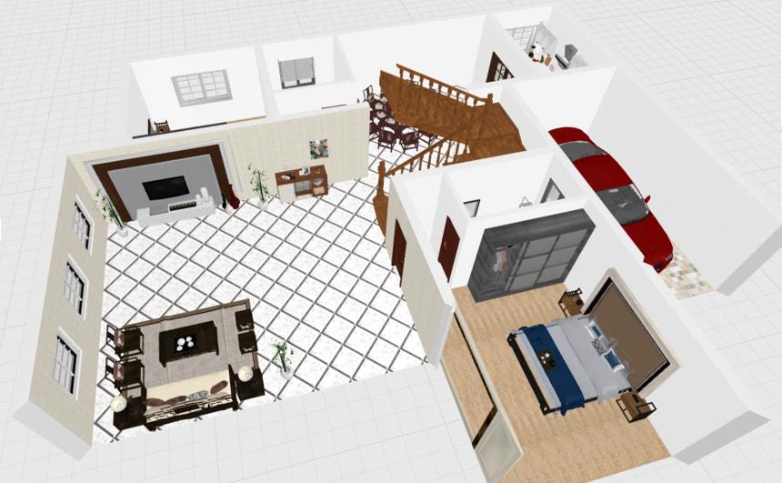 三层带露台框架结构新农村别墅自建房设计一层透视图