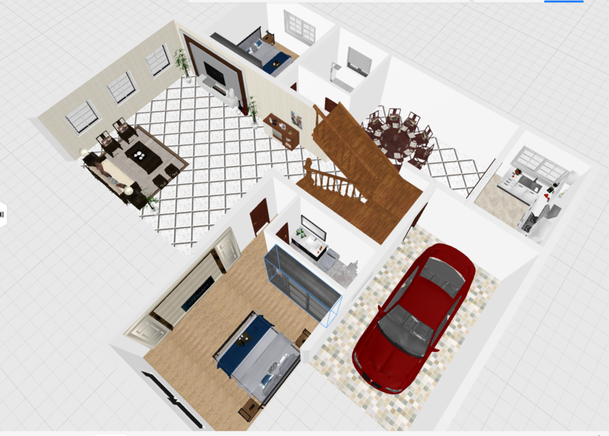 三层带露台框架结构新农村别墅自建房设计一层透视图2