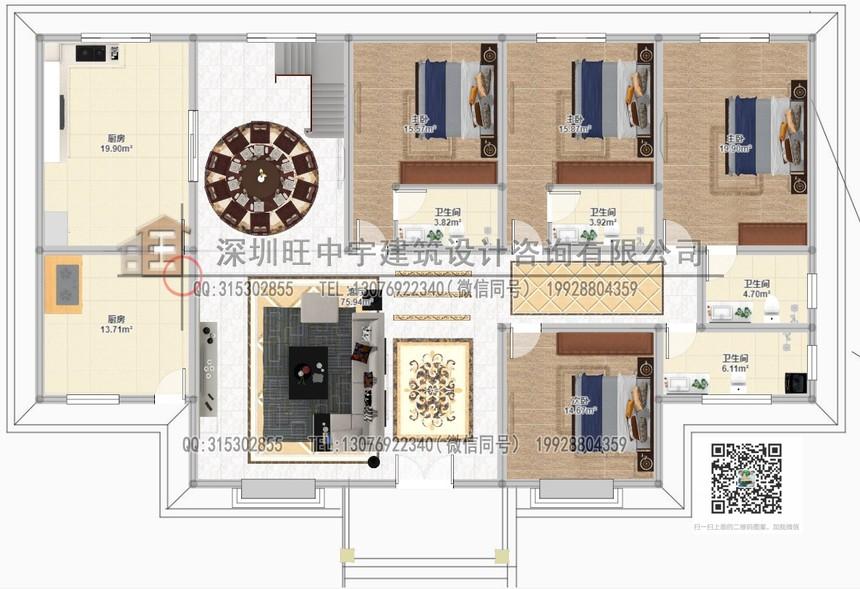 新农村别墅一层别五开间使用墅设计图