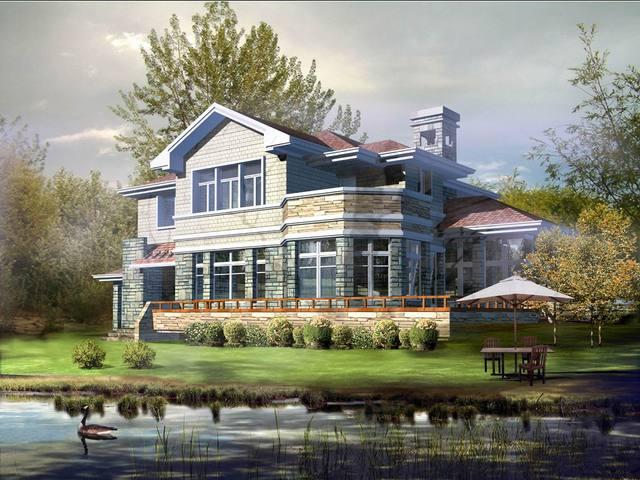 两层现代建筑风格新农村别墅自建房图纸