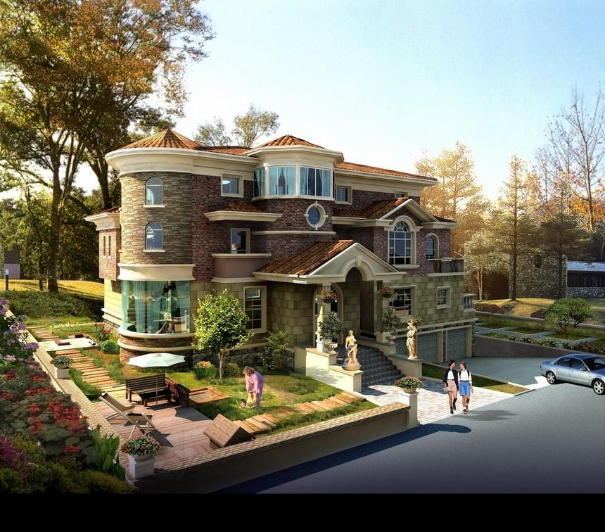 三层经典新农村别墅自建房图纸