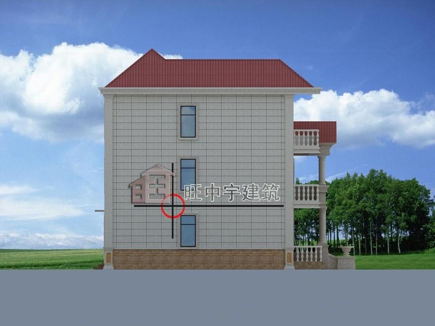 农村小别墅正左视图